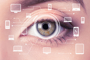 Biometric security retina scanner. Young woman imprint eye scan on computer, phone