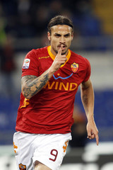 AS Roma's Osvaldo celebrates after scoring against Udinese during their Italian Serie A soccer match in Rome