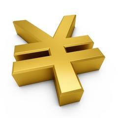 3D Rendering golden Japanese yen Sign isolated on white background