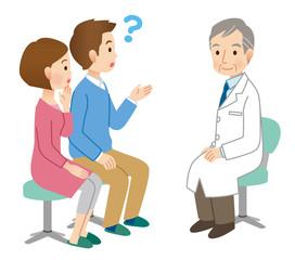 医師に相談する夫婦 不妊治療