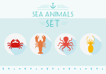 Sea animals set. Marine icons.