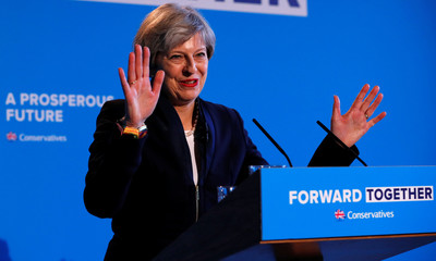 Britain's Prime Minister Theresa May's launches her election manifesto in Halifax