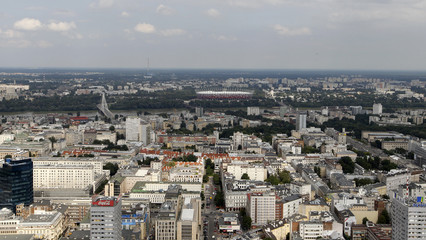 The cityscape of Warsaw is seen from the 40th floor (160 meters) of the Palace of Culture