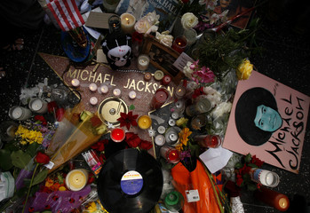 File photo of a shrine for the late pop star Michael Jackson on his star on the Hollywood Walk of Fame in Los Angeles