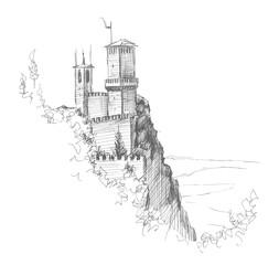 Castle in San Marino. Della Cesta. Hand drawing illustration. Gel pen