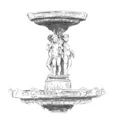 The sculpture in Paris. Hand drawing illustration. Gel pen