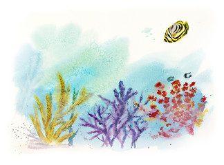 Underwater inhabitants. Sea life. Watercolor hand drawn illustration.