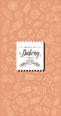 Vector set of design templates and elements for bakery with design label.