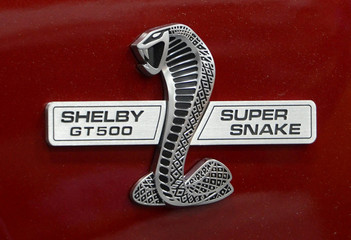 Logo of 2013 Shelby Ford Mustang GT 500 Super Snake being displayed at the North American International Auto Show in Detroit