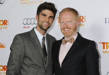 """Actor Ferguson and his partner Mikita arrive at The Trevor Project's """"Trevor Live"""" fundraising dinner in Hollywood"""