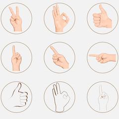 hand, gestures, pop art, sticker