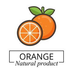cartoon orange label vector