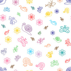 Vector Illustration. Seamless Pattern of Colorful Funny Doodle Insects. Children Drawings of Cute Bugs, Butterflies, Ants and Snails. Sketch Style.
