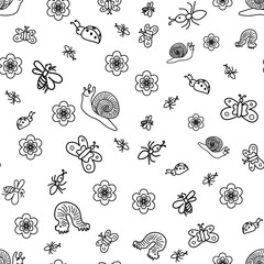 Vector Illustration. Seamless Pattern of Funny Doodle Insects. Children Drawings of Cute Bugs, Butterflies, Ants and Snails. Sketch Style.
