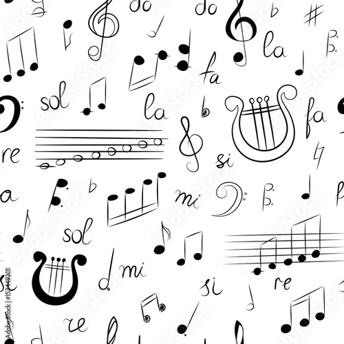 Seamless Pattern of Hand Drawn Set of Music Symbols  Doodle Treble