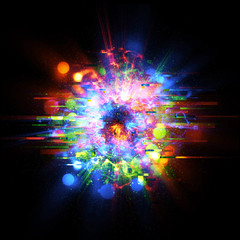 Light corrupted ring on dark background. Glowing energy ball. Glitch Texture. 3D chaos forms. Digital image data distortion effect. Explosion shape