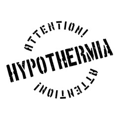 Hypothermia rubber stamp. Grunge design with dust scratches. Effects can be easily removed for a clean, crisp look. Color is easily changed.