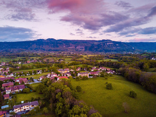 Nature, Sunset Aerial Panoramic View of the French Village near Alps, Horizontal View