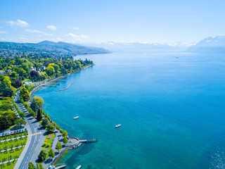 Amazing Aerial Panorama of Ouchy Waterfront in Lausanne, Switzerland, Free Space for Text, Nature Wallpaper, Summer Time