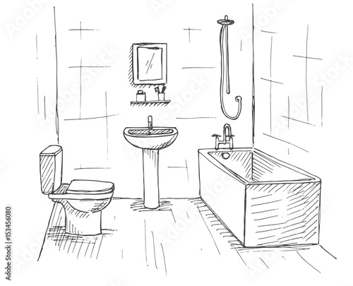 """""""Hand drawn sketch. Linear sketch of an interior. Part of ..."""