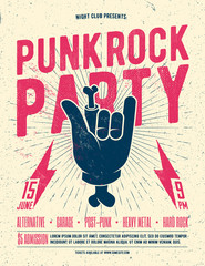 Punk Rock Party Flyer Poster. Vintage styled vector illustration.