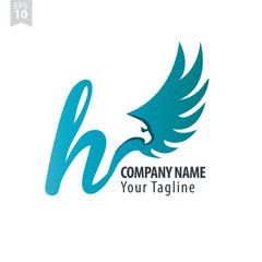 Initial Letter H Logo With Eagle or Hawk Icon Design Template