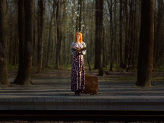 Fairy tale on railway station in the deep forest