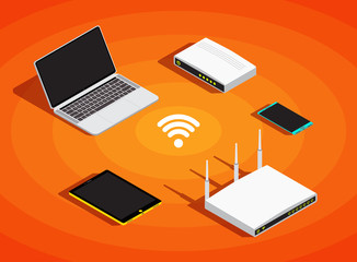 Isometric electronic devices, wifi network sharing. Laptop, smartphone, tablet, modem, router communication background, vector illustration.