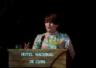 Dutch Minister for Foreign Trade and Development Ploumen addresses the audience during the opening of a business seminar in Havana