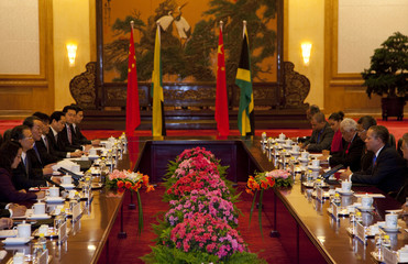 Jamaica's Prime Minister Golding meets with Chinese Premier Wen at the Great Hall of the People in Beijing