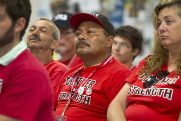 Union member Jose Cortez listens during a training exercise at the Culinary Union Local 226 headquarters in Las Vegas