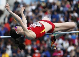 Beitia of Spain competes during the women's high jump final at the European Athletics Championships in Helsinki