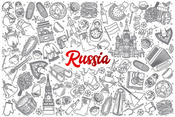 Hand drawn Russia doodle set background with red lettering in vector