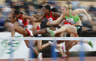 Carruthers from U.S. competes to win women's 100 metres hurdles at Lausanne Diamond League athletics meeting in Lausanne
