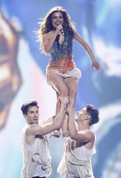 """Eleftheria Eleftheriou of Greece performs her song """"Aphrodisiac"""" during the Grand Final of the Eurovision song contest in Baku"""