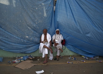 Muslim pilgrims rest at the camp city at Mina, near the holy city of Mecca