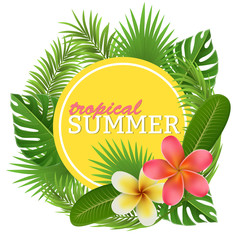 Tropical circle frame with palm leaves and tropical flower. Yellow circle frame between leaves. Vector illustration for summer, party and holiday design.