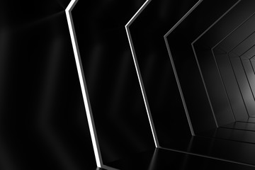 Abstract black glossy interior with light lines. 3d rendering.