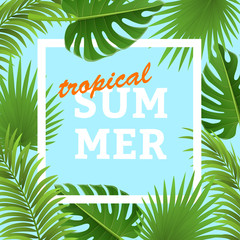 Tropical frame with palm leaves and white frame. For summer, party and holiday design, vector illustration