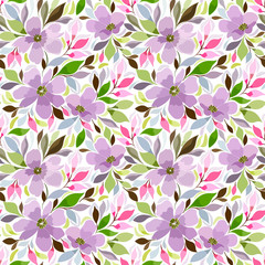 Seamless pattern with a floral print in lilac, pink shades, Summer flowering meadow