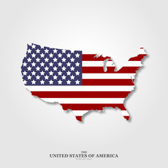 USA map flag with shadow on light background