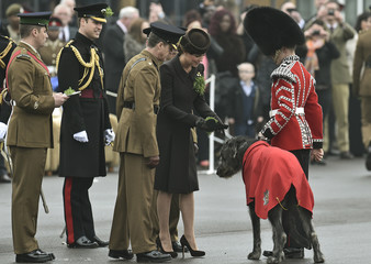 Britain's Catherine, Duchess of Cambridge, presents a sprig of shamrock to the mascot of the 1st Battalion Irish Guards, an Irish Wolfhound, during a visit with Prince William, to Mons Barracks in Aldershot
