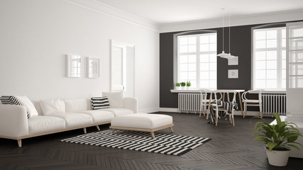 Bright minimalist living room with sofa and dining table, scandinavian white and gray interior design