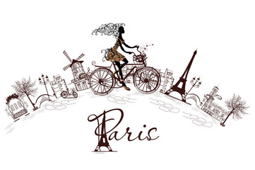 Fashion girl rides a bicycle, decorated with a musical stave and butterflies, the streets of Paris.