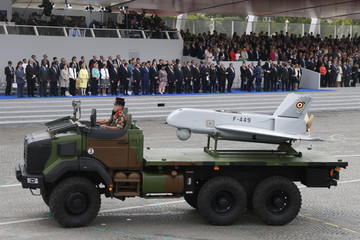 A SDTI drone of the 61st artillery regiment passes by the official tribune during the traditional Bastille Day parade on the Place de la Concorde in Paris