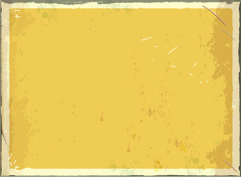Vintage blank metal sign for text or graphics. Vector retro empty background. Yellow color.