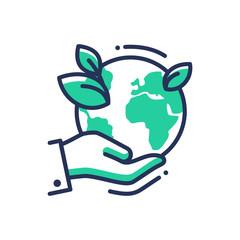 Green Earth - modern vector single line icon