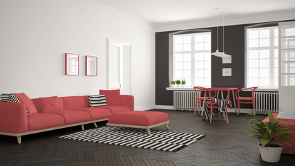 Bright minimalist living room with sofa and dining table, scandinavian white and red interior design