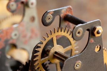 Vintage cog wheel gear mechanical techology. Shallow depth field, selective focus