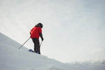 Boy skiing on snowy alps